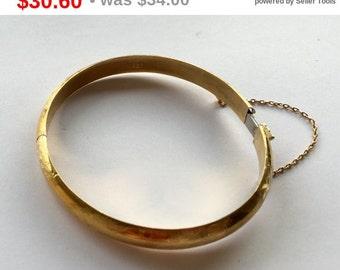 CIJ Sale Vermeil Sterling Bangle Bracelet Hinged Chased Design Vintage