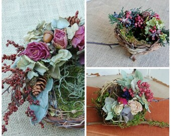 Bird Nest Collection / Dried Flower Nests / Three Nests