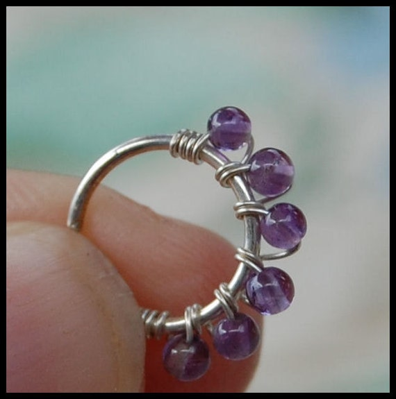 amethyst and silver nose ring gemstone nose jewerly silver
