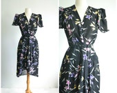 70s does 40s Vintage Floral Wrap Dress / Flutter Sleeves and Fishtail Hem / Assymetric / extra small to small