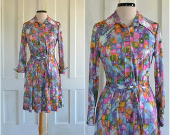 70s MOD Dress Abstract Paintbrush Print Princess Seamed Mini Dress - medium to large