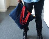 recycled denim shopping bag, denim bag, denim and leather bag, jean, denim bag, recycled denim bag, manbag,recycled leather, upcycled,