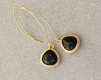 Black Earrings, Black Onyx Gold Bezel setting Long Earwire, Jewelry Gift, Bridal Jewelry, Spring Gifts, Mothers Day Gifts, Long Earrings