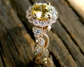 Yellow Sapphire Engagement Ring in 14K Yellow Gold with Diamonds in Leafs and Flower Blossoms - RESERVED for Erik