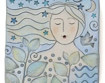 Woman, wall decor, art, clay, original art, one of a kind