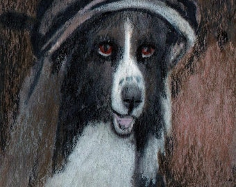 original art drawing aceo card border collie anthropomorphic animal in clothes portrait