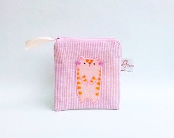 Pink Cat Purse, Cat Coin Purse, Linen Pouch, Zipper Coin Pouch, Cute Pouch, Coin Pouch, Cat Pouch, Small Change Purse - Cat Lover Gift