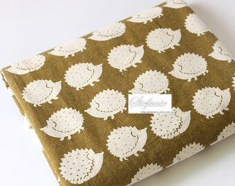 Lovely Off White Zoology Hedgehog On Khaki - Linen Cotton Blended Fabric (Fat Quarter)