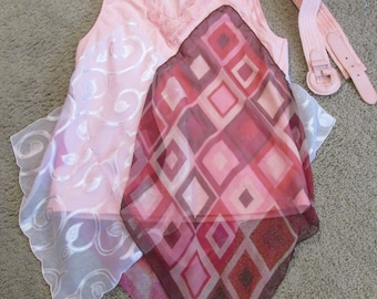 upcycled tank top to tunic sz L refashion vintage scarves pinks festival boho artsy one of a kind