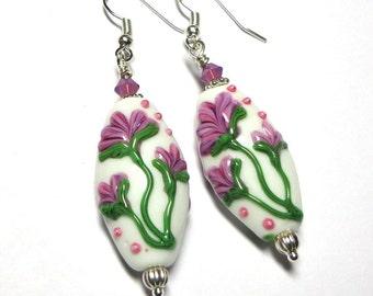 Lampwork Earrings, Rose, Lavender, Green, White, Swarovski Austrian Crystals, Silver