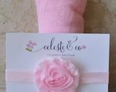 Baby Headband - Baby Pink - Newborn Baby Wrap Set - Shabby Flower Headband and Baby Swaddle Wrap - Newborn Girl Headband - Baby Girl