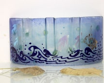 Fused glass  Curved vase Divided to three vases decoration -  Beautiful handmade vase in Calm sea blue