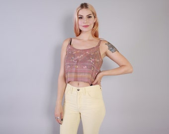Vintage 90s CROP TOP / 1990s Cropped Lavender Ethnic Paisley Floral Loose Fit Sleeveless Tank