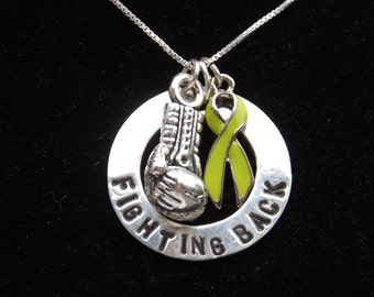 Lymphoma Awareness necklace, Lyme Disease necklace, Muscular Dystrophy awareness necklace, Lime Green Awareness necklace, boxing glove