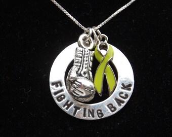 Lymphoma Awareness necklace, Lyme Disease necklace, Muscular Dystrophy awareness necklace, Lime Green Awareness necklace, Fighting Back