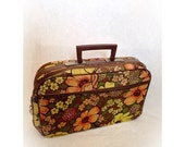 ON SALE Vintage 1970s Carry On Suitcase with Key Flower Power Mod