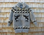 Orca Killer Whale Sweater Jacket Hand Knit White Buffalo - Made to order