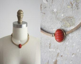 1960s brass collar necklace