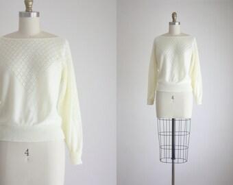 1970s eyelet knit blouse