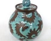 Turquoise Vines Sugar Jar