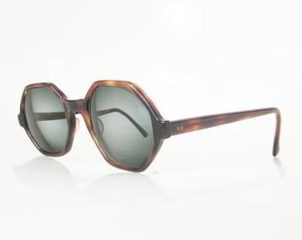 ON SALE Vintage 1960s Octagon Tortoiseshell Sunglasses Bausch Lombe Eyeglasses 60s Sixties Mid Century Modern Classic Retro Indie Chic Hipst