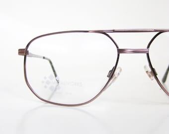 1980s Aviator Eyeglasses Rose Gold Glasses NOS New Old Stock Deadstock Mens Guys Homme Swan USA 80s Eighties Metallic Shiny