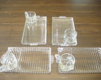 Vintage Clear Glass Appetizer Serving Pjates and Cups