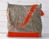 BEST SELLER Diaper bag,Messenger bag WAXED Stockholm Black ecru geometric nautical striped  Leather, Featured on The Martha Stewart