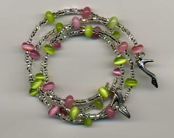 Memory Wire Bracelet Pink & Green Cat's Eye Beads, Infused Seed Beads, Pewter Shoe Charms - TD-0814-G