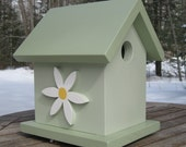 Sage Green Birdhouse with Daisies