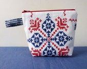Hand embroidered cross stitch zipper pouch, recycled fabric, red, white and blue