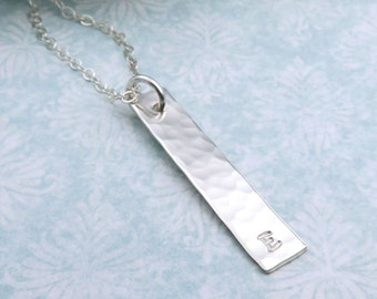 Personalized Vertical Bar Necklace, single initial, hammered finish sterling silver, layering, minimal jewelry