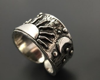 Sterling Silver Sun Moon Stars Ring Handmade Wild Prairie Silver Jewelry By Joy Kruse