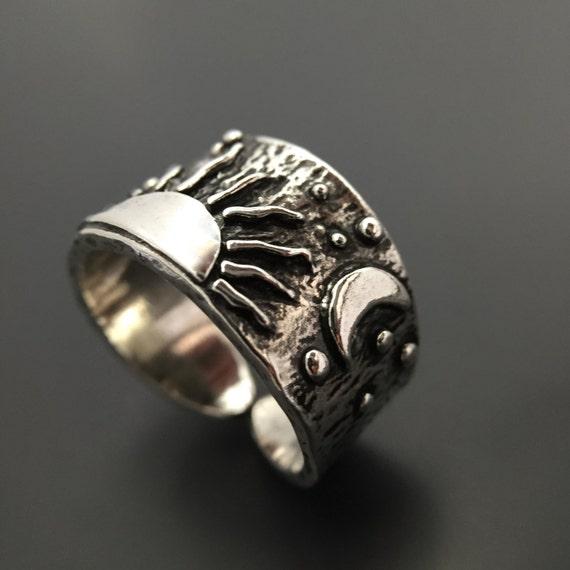 sterling silver sun moon ring handmade by joykruse