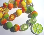 Citrus Chunky Necklace - Toddler To Girl - Acrylic Beaded Necklace- Fun Fashion Jewelry,Costume Jewelry,Green Orange Yellow,Summer Necklace