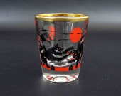 Vintage 1950's Shot Glass with Cats Fighting on a Fence with Man throwing a Boot