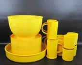 Vintage 19 Piece Melamine Dish Set in Yellow / Retro Melmac Plates
