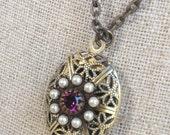 Small Bronze Perfume Locket Necklace with Purple Pearl Swarovski Crystal