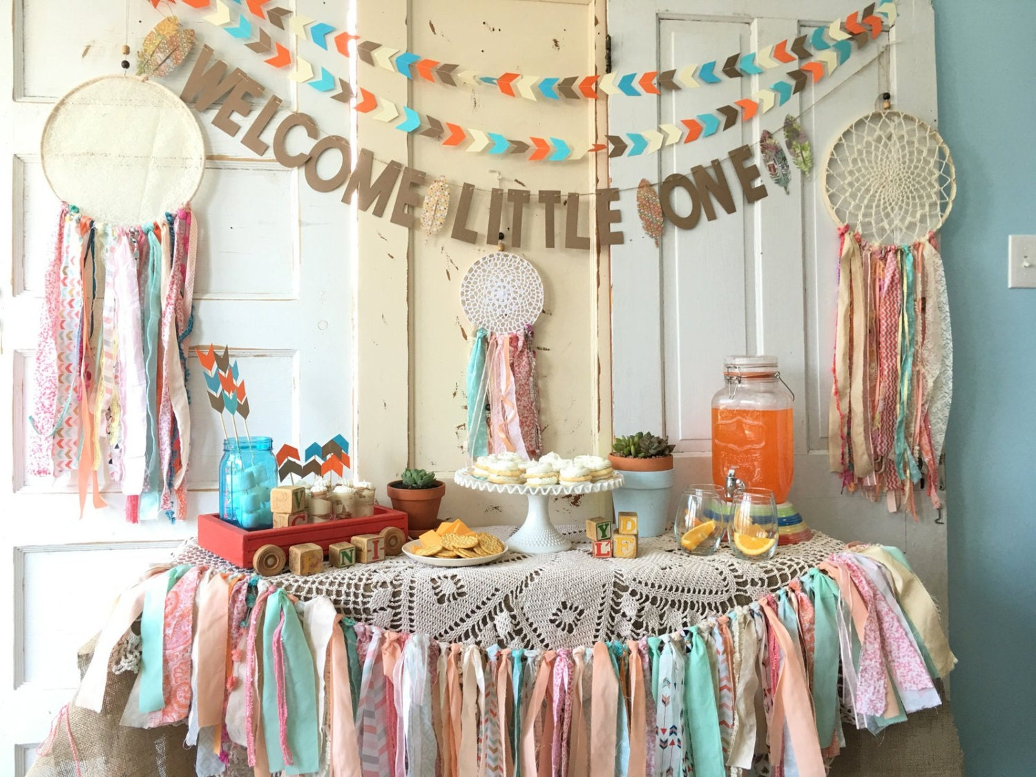 Welcome little one banner for baby shower boho modern baby for Welcome home decorations for baby