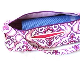 Handmade Yoga mat bag - pink purple yoga mat bag - zipper closure - yoga mat carrier with padded strap - yoga mat bag with zipper pocket