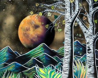 Magic Aspens  - Print of Surreal Abstract Landscape Art