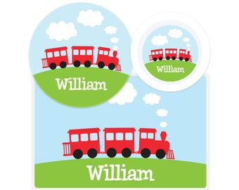 Personalized Train Plate - Pick your color!