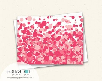 Notecards - Strawberry Soda Fizzy Dots - Set of 8 with Envelopes