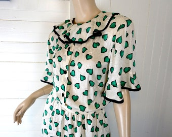 Envy Silk Dress- Green Hearts on White- 1980s does 30s- 80s Secretary Dress