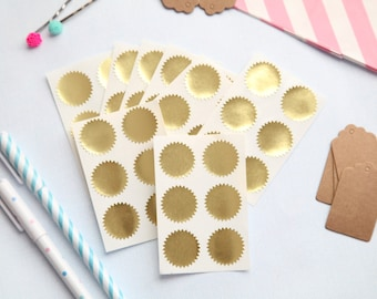 48 - Metallic Gold STARBURST Stickers - FREE SHIPPING with other purchase - 1 inch round