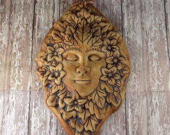 Green Woman - Green Man Plaque - Garden Decor - Flora - Pottery by Botanic2Ceramic - 951