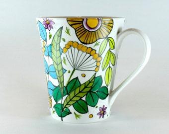 Hand Painted China Mug, Floral Design, green and golds, Coffee Mug SKU 1510-8