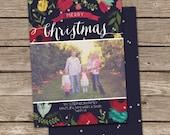 Photo Christmas Card Template: Floral Modern Merry Christmas Custom Photo Holiday Card Printable