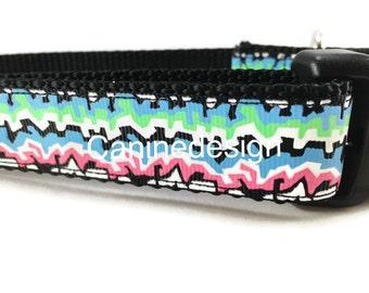 Dog Collar, Graffiti, 1 inch wide, adjustable, quick release, metal buckle, chain, martingale, hybrid, nylon