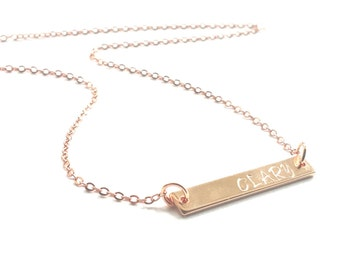 Personalized Rose Gold Bar Pendant Handstamped Name Initial Metal Tag Necklace